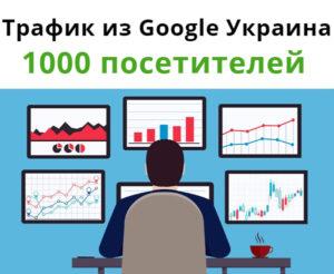1000 посещений. Трафик из Google Украина.